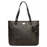 กระเป๋า Coach F36185 SVDK6 Outline Signature Zip top Tote Shoulder Bag Black/Smoke สีดำ