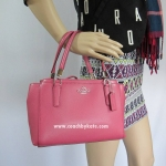 กระเป๋า Coach F34797 SVDJ7 Crossgrain Leather Mini Christi Purse Handbag Sunset Red/ Pink