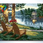 รหัส HB4050370 ภาพระบายสีตามตัวเลข Paint by Number แบบ Lake Front ขนาด40x50cm/พร้อมส่ง