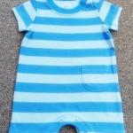 ฺBDS-393 (18M) ชุดบอดี้สูทกางเกงขาสั้น Love'n Cuddles ลายขวางสีฟ้า-น้ำเงิน ติดกระเป๋าซ้าย