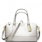 กระเป๋า COACH 49392 SAFFIANO LEATHER WHITE MINI SATCHEL PURSE HANDBAG