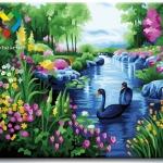 รหัส HB4050280 ภาพระบายสีตามตัวเลข Paint by Number แบบ Romatic Flowers ขนาด40x50cm/พร้อมส่ง