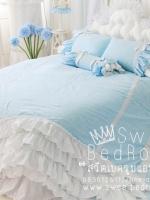 ♥หมด (ขนาด 5ฟุต)♥ ผ้าปูที่นอนวินเทจ Shabby Chic Cottage สไตล์วินเทจ เกาหลี สีฟ้าไม่มีลาย ผ้าคอตต้อน100%