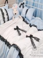 Pre-Order ♥ผ้าปูที่นอนวินเทจ เกาหลี เจ้าหญิง ลายจุดระบายลูกไม้ดำ สีฟ้า สไตล์เกาหลี♥