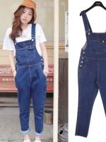 ++สินค้าพร้อมส่งค่ะ++ ชุดเอี้ยมกางเกงขายาวเกาหลี ผ้ายีนส์ ดีไซด์ stylenanda สไตล์สามกระเป๋า – สี Dark Blue