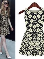 Cherry Dress ++สินค้าพร้อมส่งค่ะ++ชุดเดรสเกาหลี คอกลม แขนกุด ผ้า Hemp พิมพ์ลายเนื้อหนายืดหยุ่นได้ค่ะ ดีไซด์พลีสปลายเดรสกว้าง – สีดำ