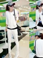 ++สินค้าพร้อมส่งค่ะ++Sport set เกาหลี เสื้อแขนยาว สไตล์ Cardigan กระดุมแปปยาวด้านหน้าเก๋+กางเกงขายาวเอวรูดผูกสวยเก๋ – สีขาว
