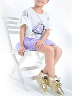 Pre Order รองเท้าผ้าใบเด็กแฟชั่น ลายชาแนล ดีไซน์ลูกไม้ปักเลื่อม สไตล์เกาหลี มี2สี