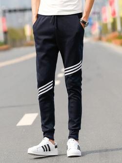 Pre Order กางเกงออกกำลังกาย ฟิตเนส ขายาวทรงฮาเร็ม แต่งแถบเฉียง มี3สี