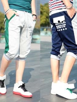 Pre Order กางเกงขาสามส่วนออกกำลังกาย ฟิตเนส ดีไซน์ทูโทน แต่งกระเป๋าหลัง มี3สี