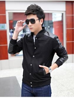 Pre Order เสื้อแจ็คเก็ตผู้ชายสุดเท่ห์ ดีไซน์เป็นกระดุมหน้า เสื้อแต่งด้วยหนังบางส่วน แขนยาว มี2สี
