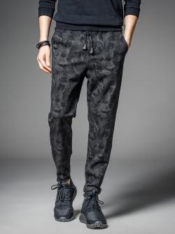 Pre Order กางเกงลำลองแฟชั่นเกาหลี ลายพราง มีเชือกผูกเอว สีดำ