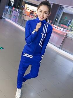 Pre Order ชุดออกกำลังกายแฟชั่นเกาหลี เสื้อแจ็คเก็ตแขนยาว คอปก แต่ง Y5 ลายเก๋ๆ+กางเกงขายาว มี3สี