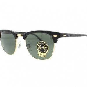 แว่นตา Ray-Ban RB 3016 Clubmaster W0365 Black/Gold Unisex Sunglasses 51 mm