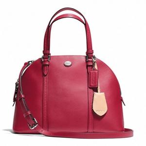 กระเป๋า Coach F25671 SV/RD Peyton Cora Domed Saffiano Leather Black Satchel Handbag