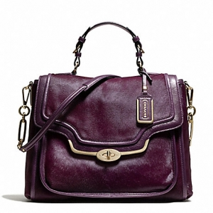 กระเป๋า Coach 26346 LIBNH Madison black violet haircalf Sadie flap satchel bag purse
