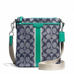 กระเป๋า Coach F51265 SVBHS Signature Stripe PVC Swingpack Crossbody Bag