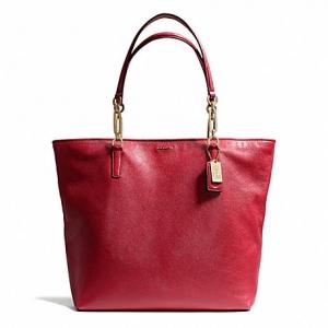 กระเป๋า COACH 26225 LIBNH MADISON LEATHER NORTH SOUTH TOTE สีแดง