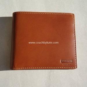 กระเป๋าสตางค์ COACH WATER BUFFALO DOUBLE BILLFOLD ID WALLET STYLE: F74396 TAN