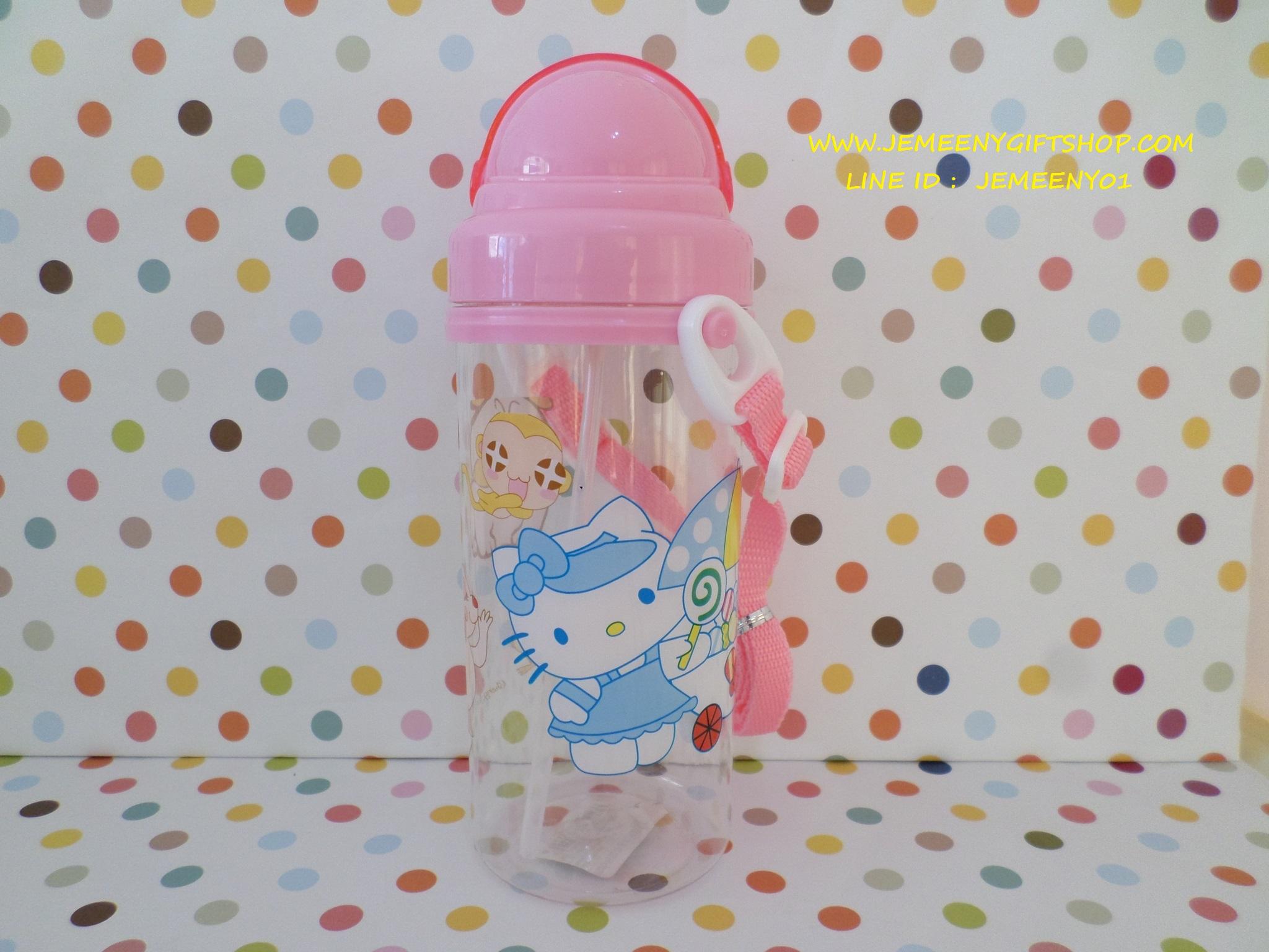 ขวดใส่น้ำดื่ม ฮัลโหลคิตตี้ Hello kitty ขนาดความจุ 450-500ml มีสายคล้องคอพร้อมหลอดดูด