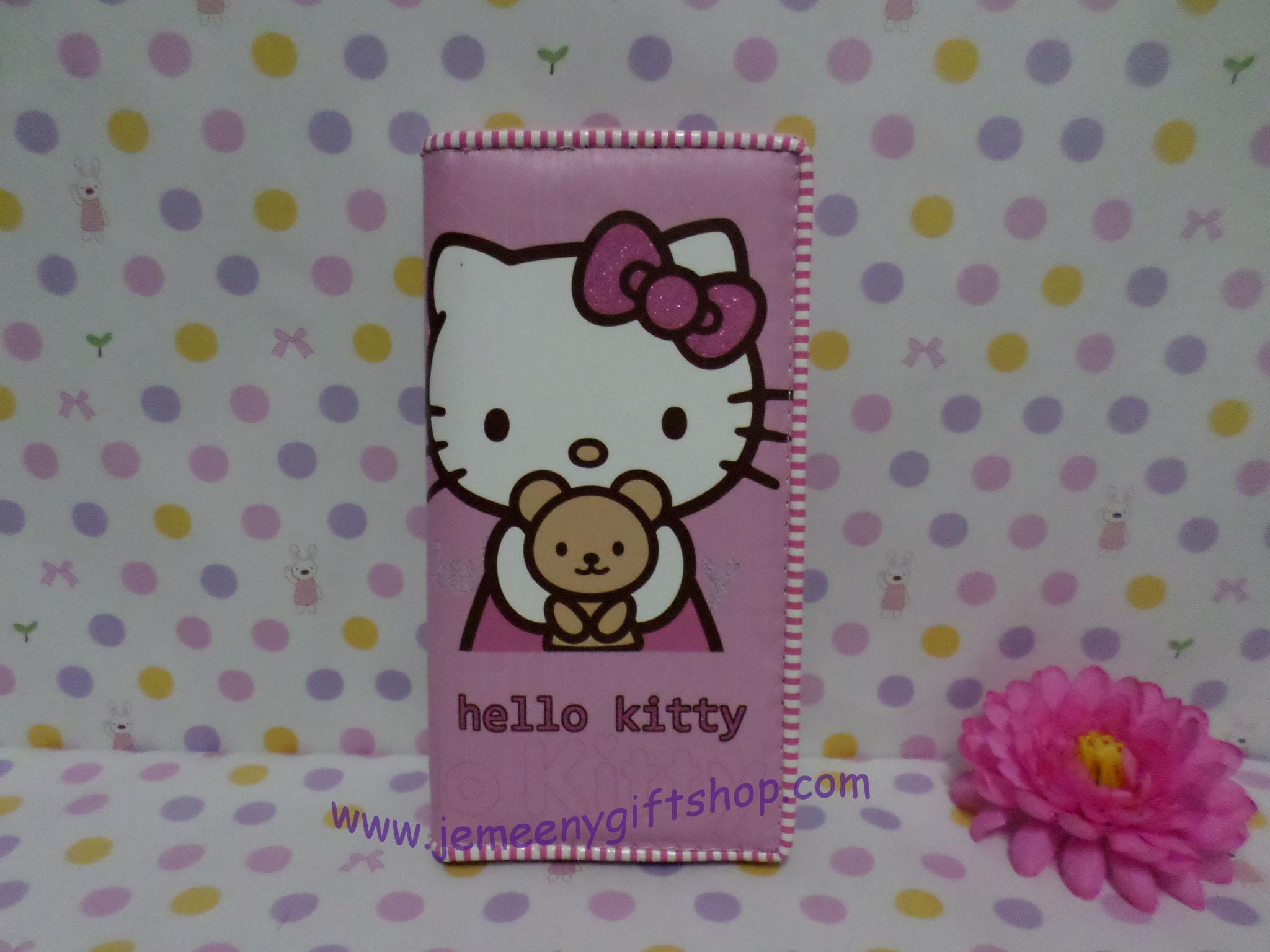 กระเป๋าสตางศ์ใบยาว ฮัลโหลคิตตี้ Hello kitty#15 ขนาด 7.5 นิ้ว x 4 นิ้ว ลายคิตตี้หมี พื้นสีชมพูอ่อน ซิปรอบ