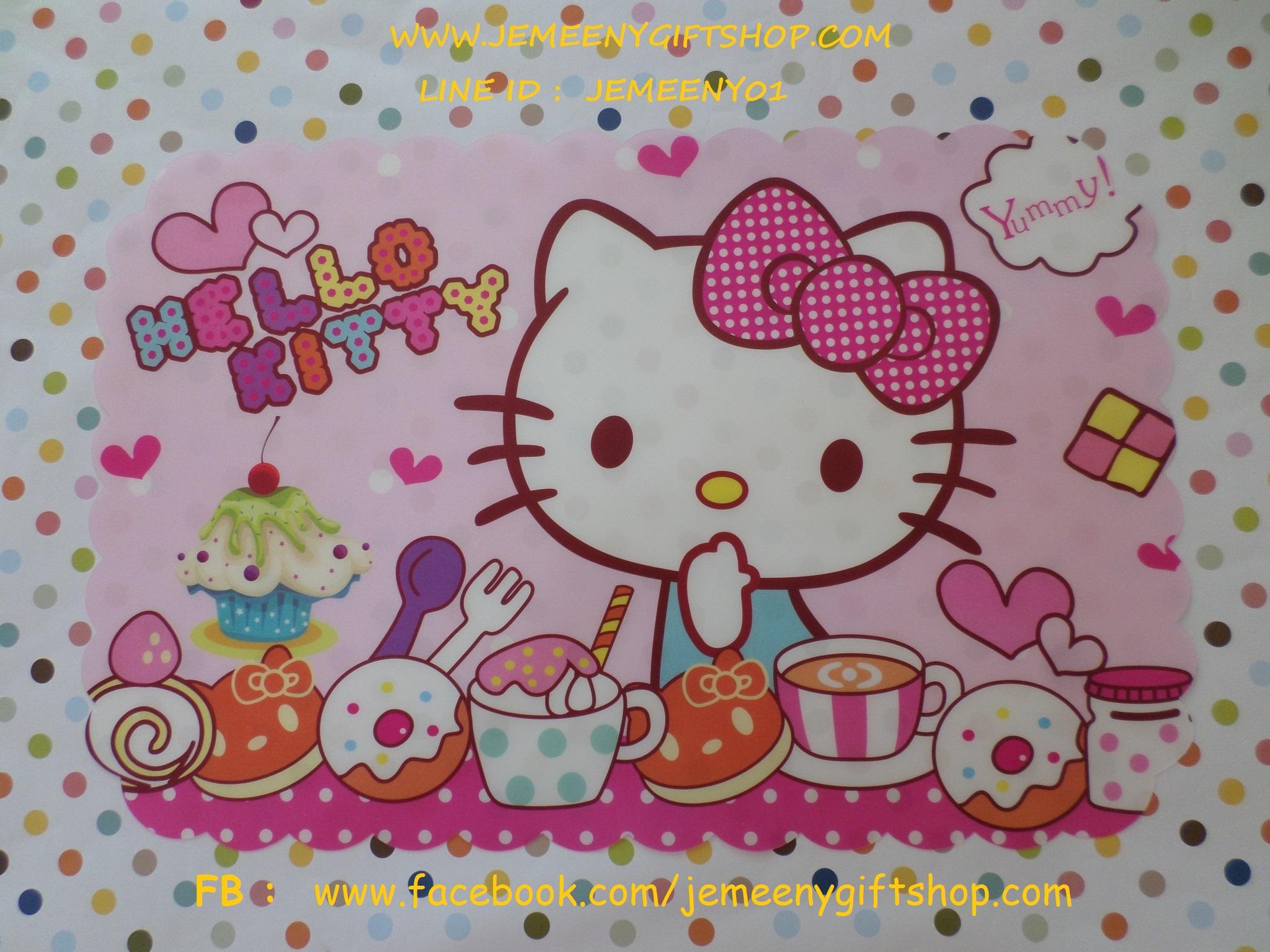 แผ่นยางรองจานทานอาหาร ฮัลโหลคิตตี้ Hello Kitty ขนาด 43 ซม. * 29 ซม. ลายคิตตี้โบว์ชมพูจุดขาว พื้นชมพูจุดขาว