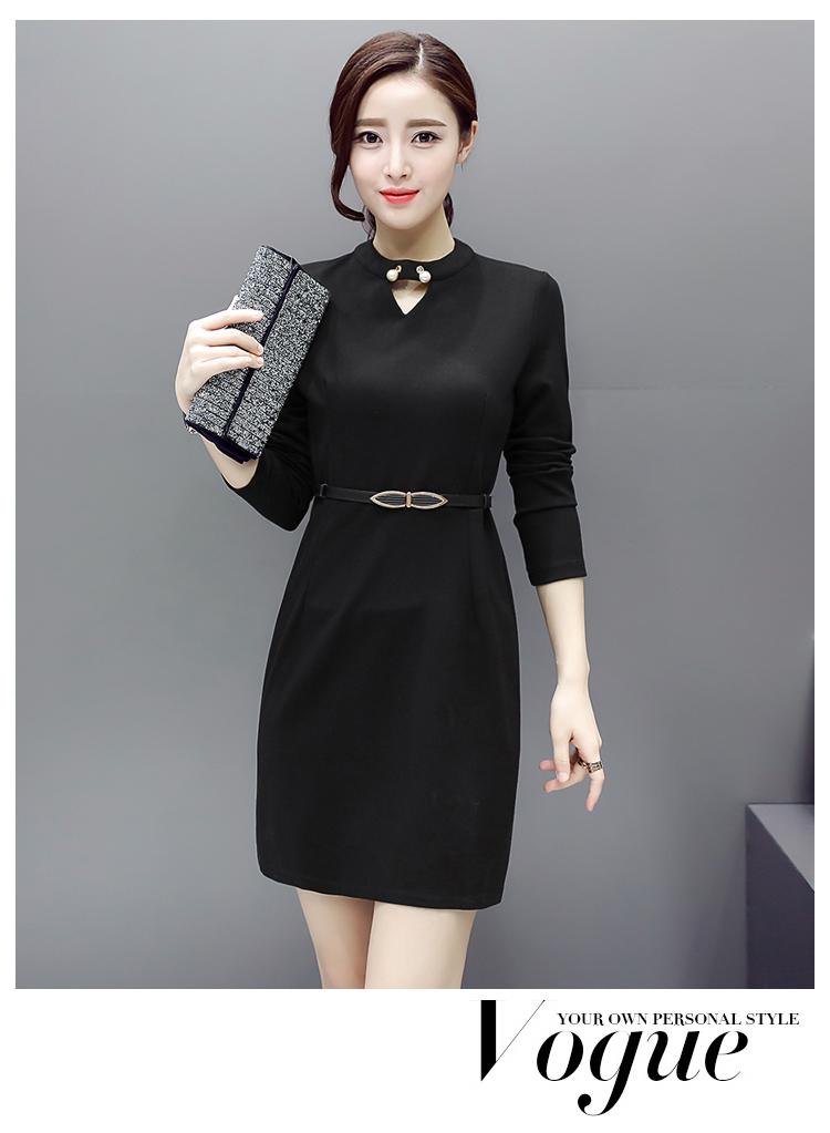 เดรสทำงานสีดำปิดคอมีมุกประดับ ผ้าไนล่อน เนื้อหนาแขนยาว