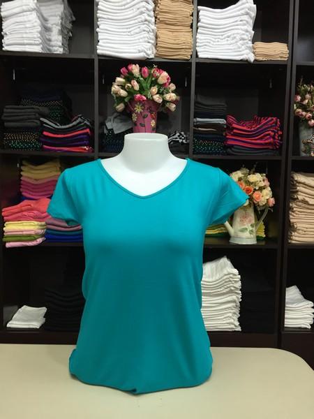 """เสื้อยืดคอวี สีเธอควอยส์ size """"M"""""""