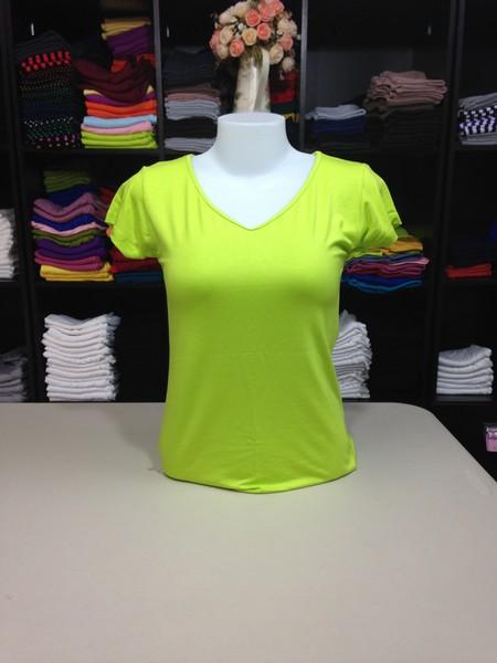 """เสื้อยืดคอวี สีเขียวมะนาว size """"M"""""""