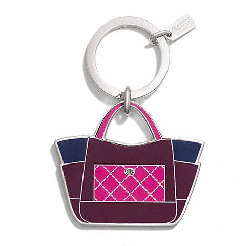 พวงกุญแจ Coach F66661 SVBG2 PARK COLOR BLOCK TOTE KEY RING