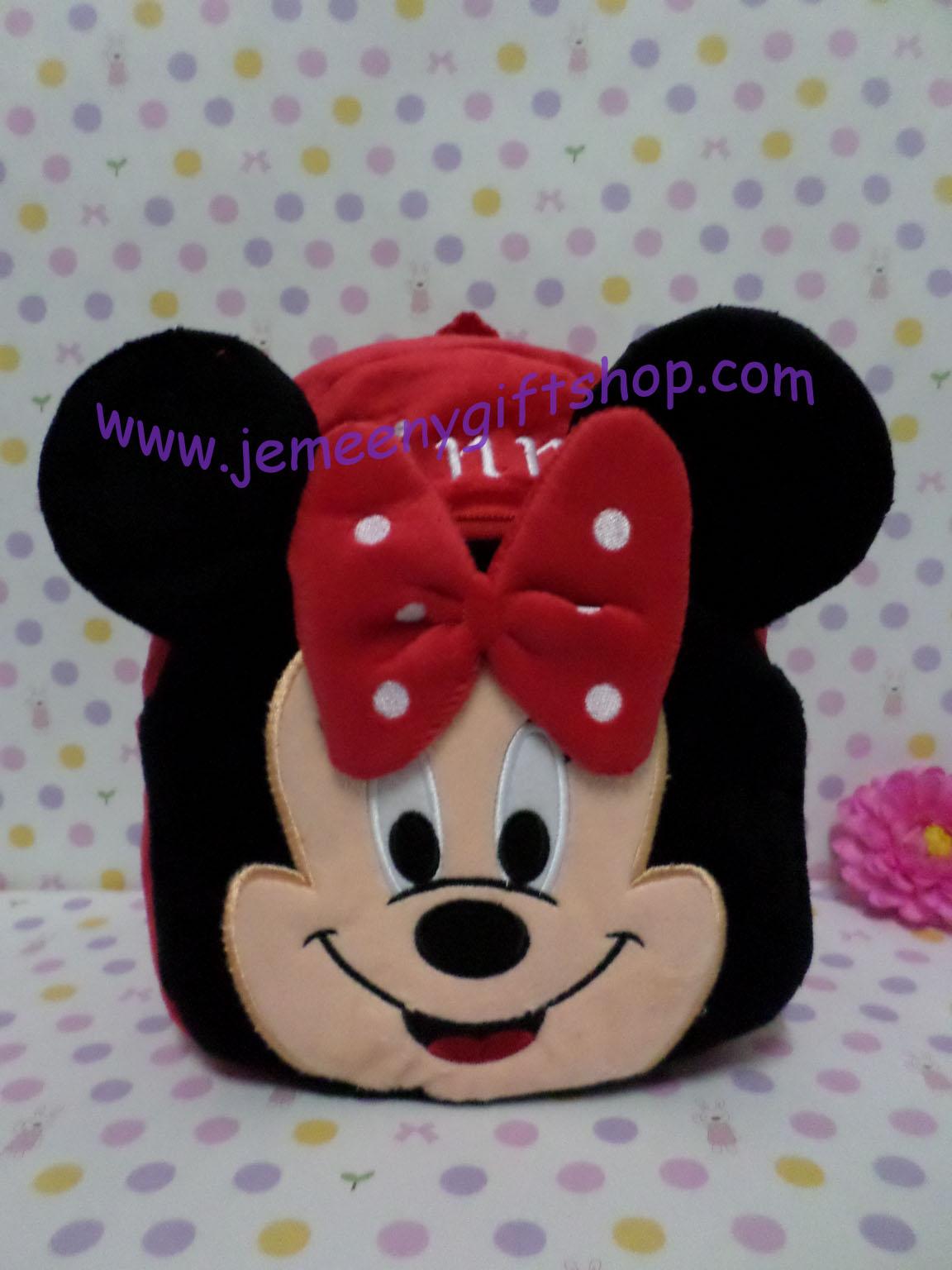 กระเป๋าเป้สะพายหลังใบเล็กจิ๋ว มินนี่เม้าส์ Minnie mouse ขนาดกว้าง 5 ซม * ยาว 22 ซม * สูง 23 ซม สำหรับเด็กเล็ก 2-4 ขวบ
