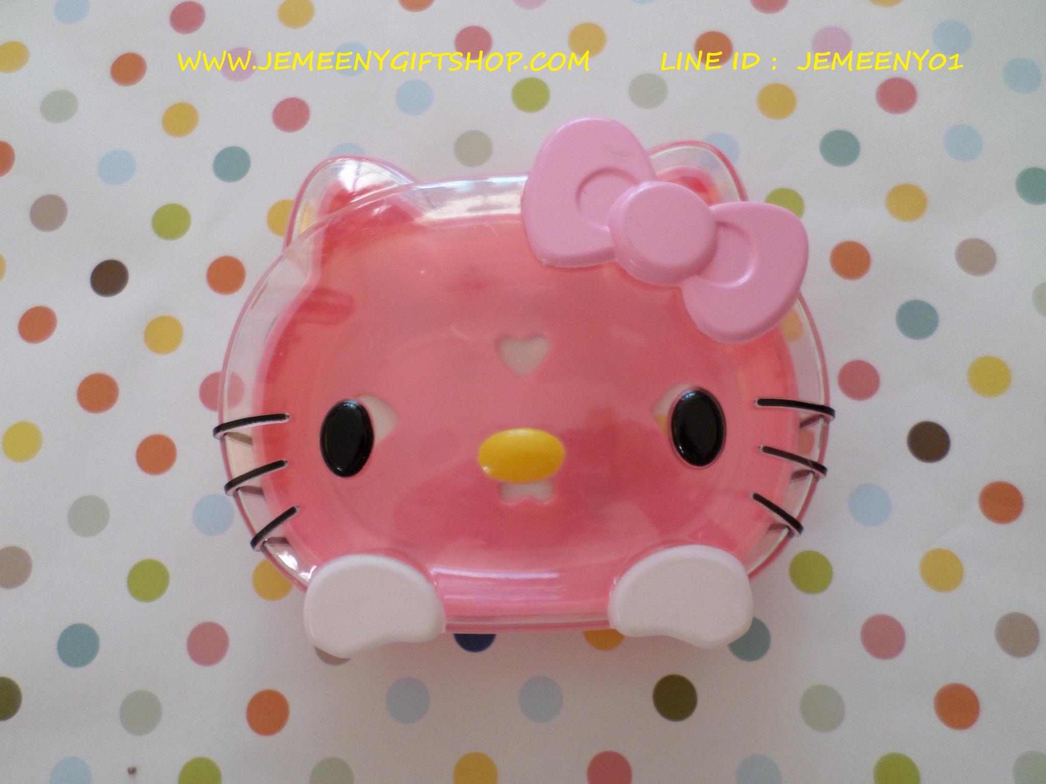 กล่องใส่สบู่ในห้องน้ำ ฮัลโหลคิตตี้ Hello kitty ขนาด 12 * 9 ซม. หน้าคิตตี้โบว์ชมพู วางสบู่ก้อนใหญ่ได้หนึ่งก้อน
