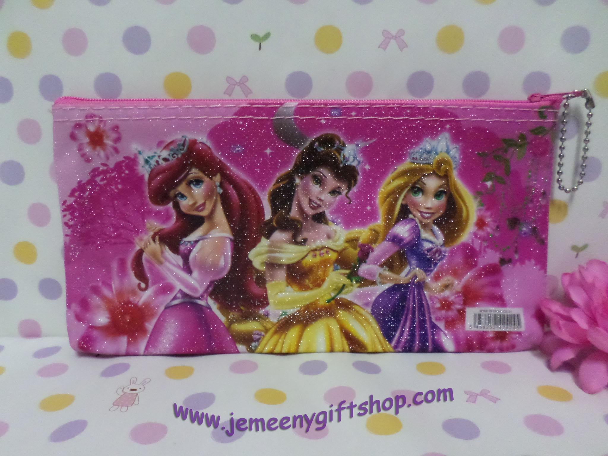 กระเป๋าใส่ดินสอปากกา เจ้าหญิง Princess ขนาดยาว 21 ซม.* สูง 11 ซม. ลายเจ้าหญิง สีชมพู