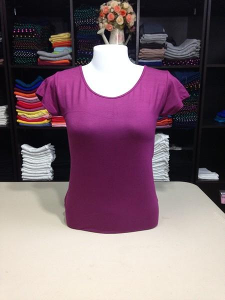 """เสื้อยืดคอกลม สีเปลือกมังคุดอ่อน size """"M"""""""