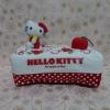 หุ้มกล่องทิชชู่สี่เหลี่ยม ฮัลโหลคิตตี้ Hello kitty#1 ขนาดยาว 24 ซม. * กว้าง 13 ซม. * สูง 8 ซม. สีขาวแดงจุดขาว ลายฮัลโหลคิตตี้โบว์แดง