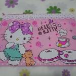 ซองซิปใส่เอกสาร A4 ฮัลโหลคิตตี้ Hello Kitty ขนาด ยาว 13.5 นิ้ว * สูง 9 นิ้ว ลายคิตตี้หมีโบว์ม่วง พื้นชมพู