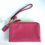 สินค้าพร้อมส่งจาก USA » กระเป๋า COACH F64130 IMDUL DOUBLE CORNER ZIP WRISTLET IN PEBBLE LEATHER IMITATION GOLD/DAHLIA