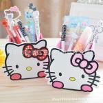 กล่องไม้ใส่ดินสอปากกา ฮัลโหลคิตตี้ Hello kitty ขนาด 8.5 * 7.5 * 9 ซม. ลายหน้าคิตตี้โบว์ชมพู โบว์แดง
