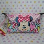 กระเป๋าเครื่องสำอางศ์ กระเป๋าเอนกประสงศ์ มินนี่เม้าส์ Minnie mouse ขนาด 16.5 * 12 ซม