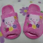 รองเท้าใส่ในบ้าน ออฟฟิศ ฮัลโหลคิตตี้ Hello kitty#9 ขนาด free size ลายคิตตี้ดอกกุหลาบ สีชมพู