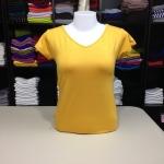 """เสื้อยืดคอวี สีเหลืองเข้ม size """"M"""""""