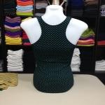 เสื้อกล้ามหลังสปอร์ต ลายจุดเล็ก สีเขียว