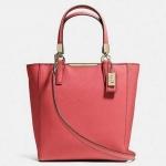 สินค้าพร้อมส่ง » กระเป๋า COACH 29001 LID0F Madison Tan Saffiano Leather Mini NS Tote Shoulder Bag สีส้มอมแดง