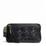 สินค้าพร้อมส่ง » กระเป๋าสตางค์คล้องแขน COACH 50275 B4BK Poppy Double Zip Sequin Signature C Fabric Wallet Wristlet Black