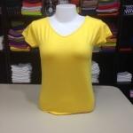 """เสื้อยืด size""""L"""" สีเหลืองสด"""
