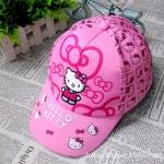 หมวก ฮัลโหลคิตตี้ Hello kitty สำหรับเด็กโต ลายฮัลโหลคิตตี้โบว์ สีชมพู