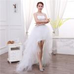ชุดราตรีชุดแต่งงานเจ้าสาวสีขาว แขนกุดหน้าสั้นหลังยาว