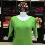 """เสื้อยืดแขน3ส่วน size""""L"""" สีเขียวตอง"""