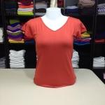 """เสื้อยืดคอวี สีส้มอิฐ size """"M"""""""