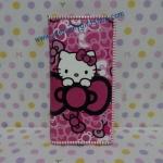 กระเป๋าสตางศ์ใบยาว ฮัลโหลคิตตี้ Hello kitty#12 ขนาด 7.5 นิ้ว x 4 นิ้ว ลายคิตตี้โบว์ชมพู พื้นสีชมพูเข้มลายโบว์ ซิปรอบ